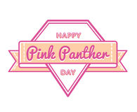 Happy Pink Panther Day greeting emblem Stock Images