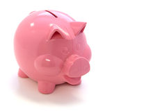 Happy Pink Piggy Bank. Happy pink plastic piggy bank over white background Royalty Free Stock Photography