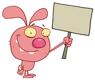 Happy pink rabbit holding up a blank sign Royalty Free Stock Image