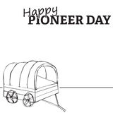 Happy pioneer day. Wagon illustration, Happy Pioneer Day text Stock Photo
