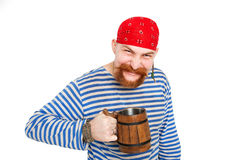 Happy Pirate drinking beer Stock Photo