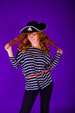 Happy pirate girl Royalty Free Stock Images