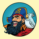 Happy pirate with a parrot on his shoulder Royalty Free Stock Photo