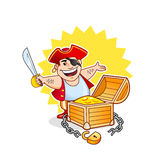 Happy pirate with treasure chest. Cartoon vector illustration of a happy pirate with opened treasure chest and golden coins Stock Photos