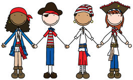 Happy pirates. Illustration of four kids holding hands dressed as pirates Royalty Free Stock Photos