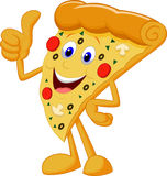 Happy pizza cartoon with thumb up Royalty Free Stock Images