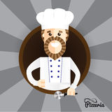 Happy pizza maker making thumbs up sign. Trendy stylish character can be used in restaurant identity Royalty Free Stock Photos