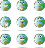 Happy planet. Icons with planet Earth in funny expressions humanized Stock Image