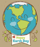 Happy Planet with Earth Day Sign, Vector Illustration Royalty Free Stock Photo