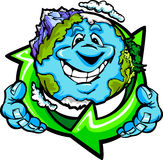 Happy Planet Earth Holding Recycle Symbol. Cartoon Image of a Happy Smiling Planet Earth with Mountains and Oceans Holding a Recycling Symbol for Earth Day Stock Images