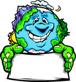 Happy Planet Earth Holding Sign Cartoon. Cartoon Image of a Happy Smiling Planet Earth with Mountains and Oceans Holding a Sign for Earth Day Royalty Free Stock Image