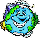 Happy Planet Earth with Mountains and Clouds. Cartoon Image of a Happy Smiling Planet Earth with Mountain and Ocean Stock Photography