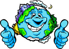 Happy Planet Earth with Thumbs up Gesture Cartoon. Cartoon Image of a Happy Smiling Planet Earth with Mountains and Oceans Giving Thumbs Up Stock Photo