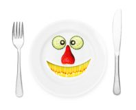 Happy plate with teeth corn Royalty Free Stock Image