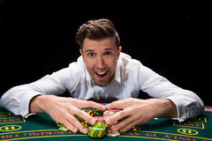 Happy player online poker Royalty Free Stock Image