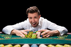 Happy player online poker Stock Images