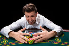 Happy player online poker Royalty Free Stock Photos
