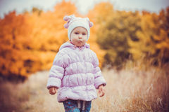 Happy playful baby in the autumn park Royalty Free Stock Photo