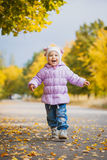 Happy playful baby in the autumn park Stock Photos