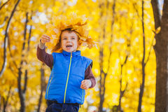 Happy playful boy have fun in the yellow leaves Royalty Free Stock Photography