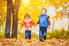 Happy playful children in the autumn park Royalty Free Stock Photography
