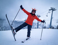 Happy playful skier. Happy playful man skier on the a top of a mountain in Bansko Royalty Free Stock Images