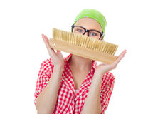 Happy playful woman holding brush Royalty Free Stock Photos