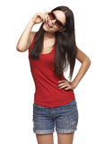 Happy playful woman in sunglasses Stock Photography
