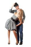 Happy playful young couple Stock Images