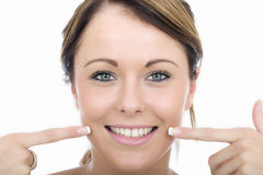 Happy Playful Young Woman Pointing to Teeth Mouth Stock Photography