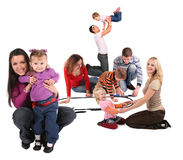 Happy playing families Royalty Free Stock Image