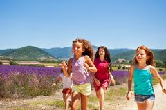 Happy playmates running through lavender field. Group of four age-diverse girls, happy playmates, running one after another through lavender field in summer Stock Photos