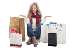 Happy and pleased shopping lady Royalty Free Stock Photo