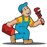 Happy Plumber. Plumber isolated on a white background Stock Photography