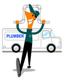 Happy plumber with pipe and van Stock Photo