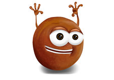 Happy pluot cartoon character laughing joyfully Stock Photo