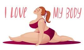 Happy plus size girl. Body positive concept. Split royalty free illustration