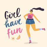 Happy plus size girl on the rollers. stock illustration