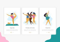 Happy plus size girls with healthy lifestyle in different pose: yoga, fun and party. royalty free illustration