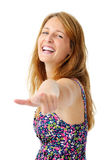 Happy pointing woman Royalty Free Stock Photography