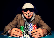 Happy poker face Stock Photo