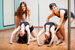 Happy pole dancers in class Stock Photos
