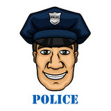 Happy police officer in blue uniform Royalty Free Stock Photography