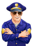 Happy policeman with sunglasses Royalty Free Stock Image