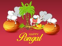 Happy Pongal Celebration with decorated Pot and sugarcane. Vector illustration of a Background for Happy Pongal Celebration stock illustration