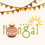 Happy Pongal celebrations with rice in traditional mud pot. Stock Photo