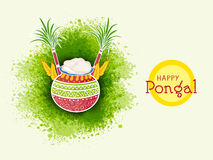 Happy Pongal celebrations with traditional pot. Royalty Free Stock Photography