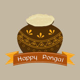 Happy Pongal festival celebrations with traditional mud pot. Royalty Free Stock Photography
