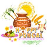 Happy Pongal greeting background Stock Photo