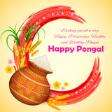 Happy Pongal greeting background Stock Photography